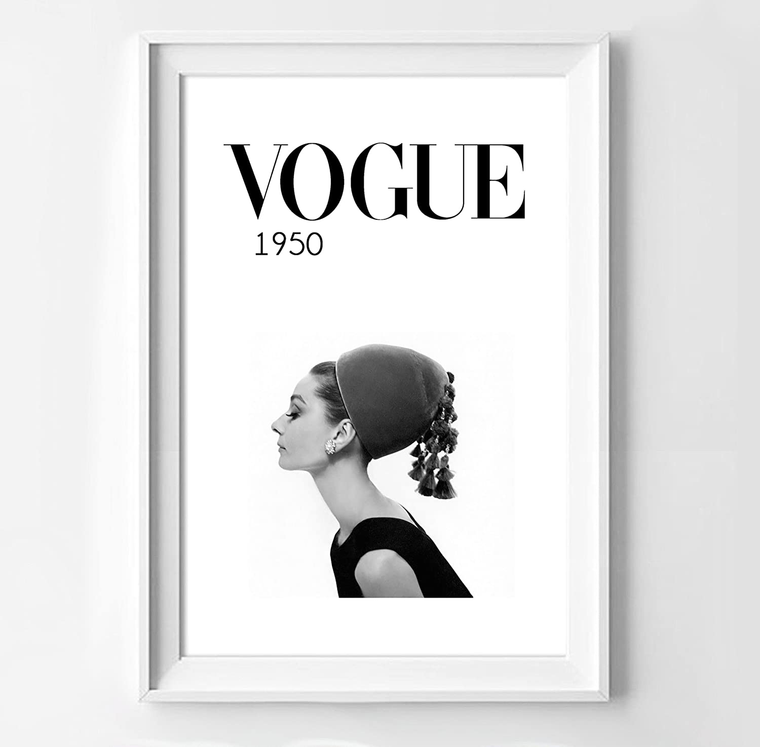 Amazon.com: Poster audrey hepburn for vogue in black and white ...