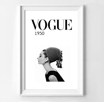 Poster audrey hepburn for vogue in black and white fashion decoration 40 x 50