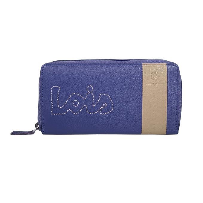 LOIS - 28401 Cartera Billetero Tarjetero Monedero de Mujer con Cremallera y Compartimentos para Tarjetas y documentación. Lona y Piel sintética. ...