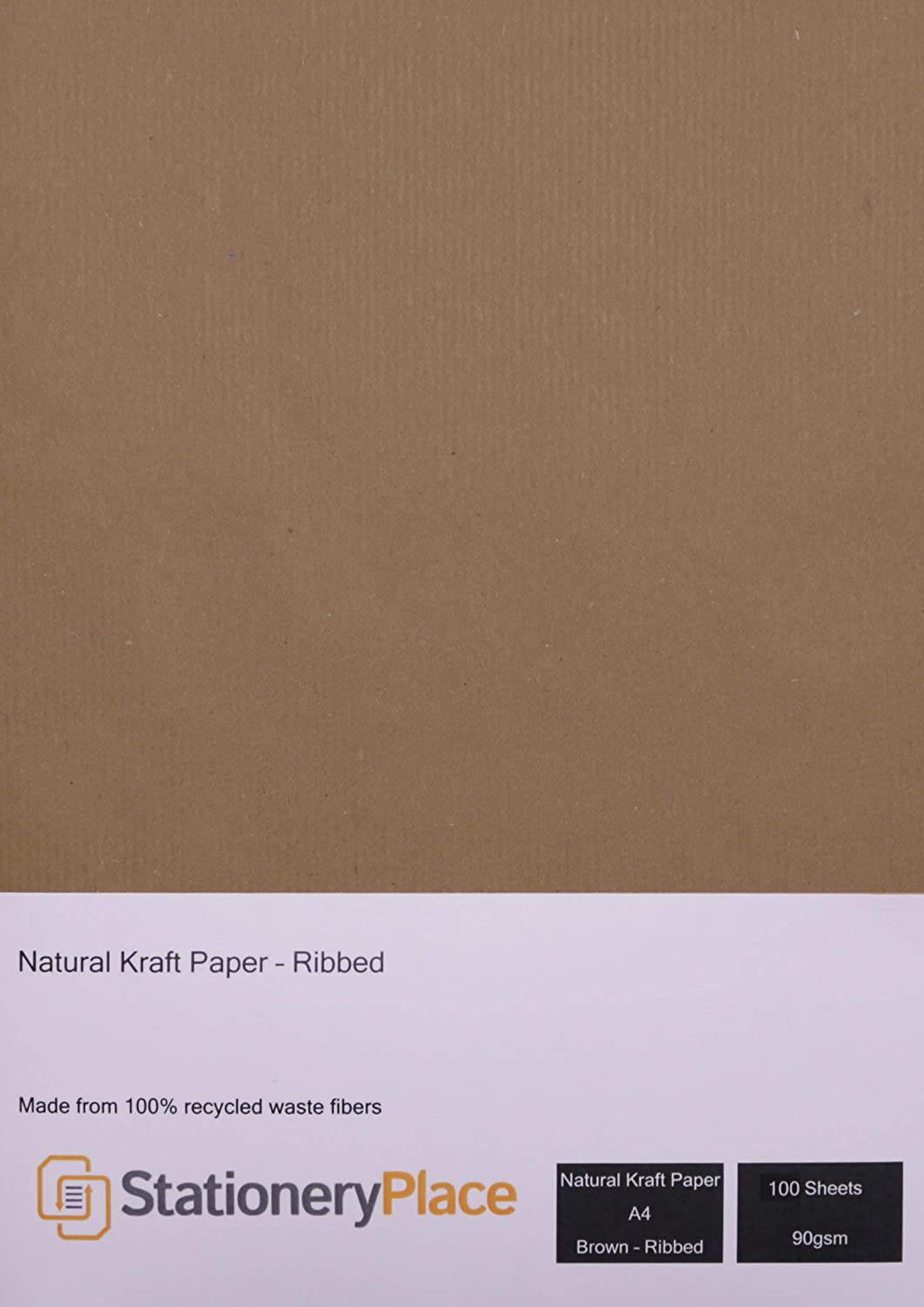 Stationery Place Kraft Card Stationery Place Brown Ribbed Recycled Natural Kraft Paper - A4 90 Gsm 100 Sheet Pack