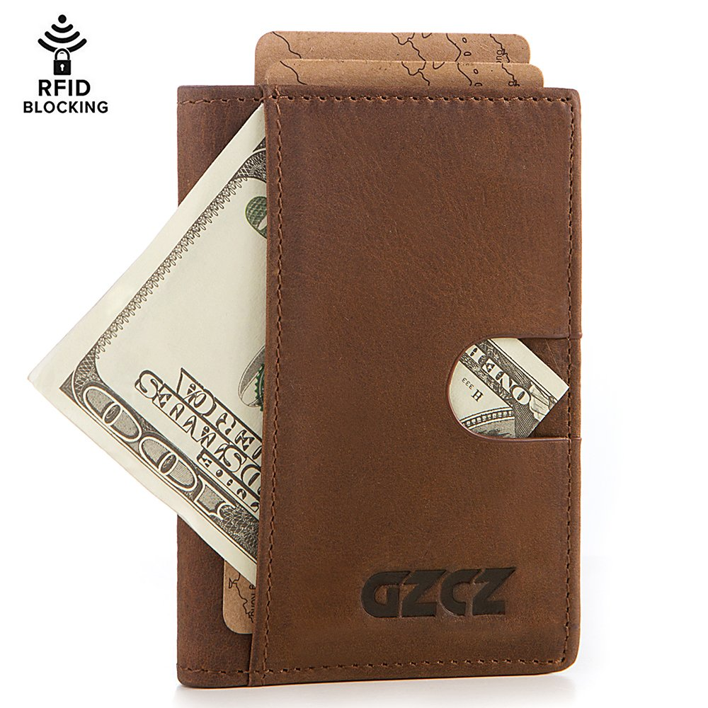 GZCZ-RFID Blocking Bifold Slim Genuine Leather Thin Minimalist Front Pocket Wallets for Men Bifold -Made From Full grain leather