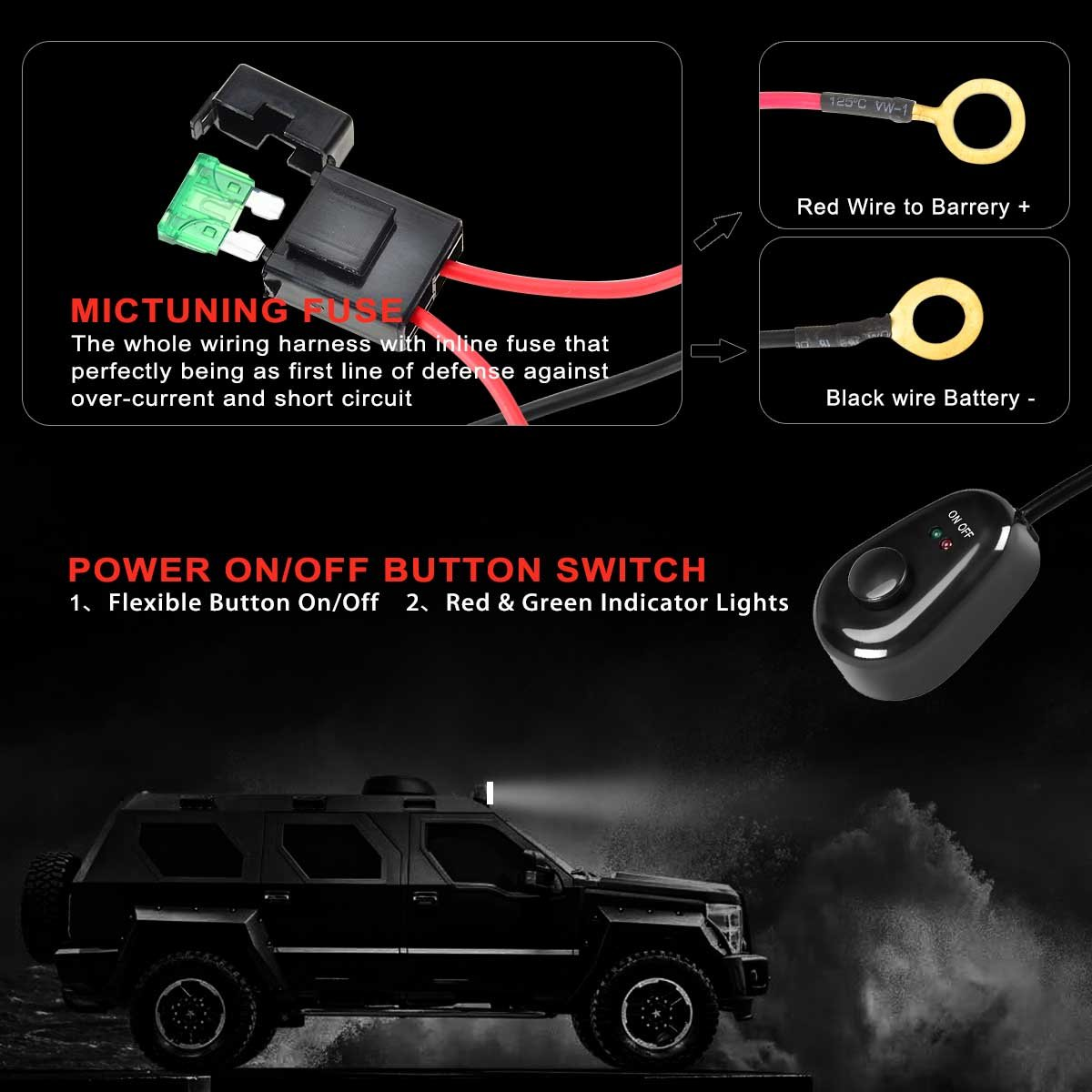 Kawell Universal 2 Lead Off Road Atv Jeep Led Light Bar Complete Car Wiring Harness Kit 40 Amp Relay On Switch 12v 40a Waterproof Automotive