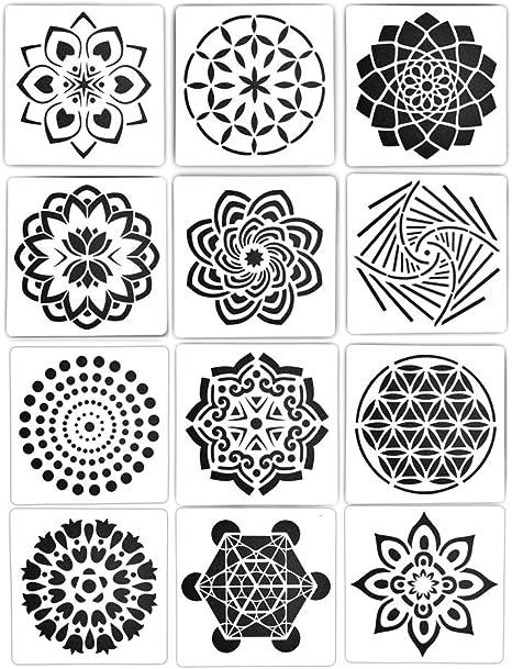 Amazon De Mx Amigo 12 Teiliges Set Wiederverwendbare Blumen Muster Vorlage Mandala Blumen Muster Vorlage Datura Muster Vorlage Diy Malerei Kunstprojekte 15 2 X 15 2 Cm Neu