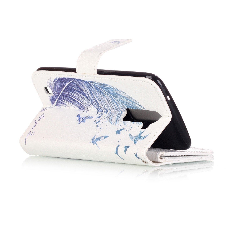 JuSha for Apply to LG K7 2016/K8 2016 Edge Case PU Leather Wallet Magnetic Cover Skin(Blue Leaf Mobile Phone Case)
