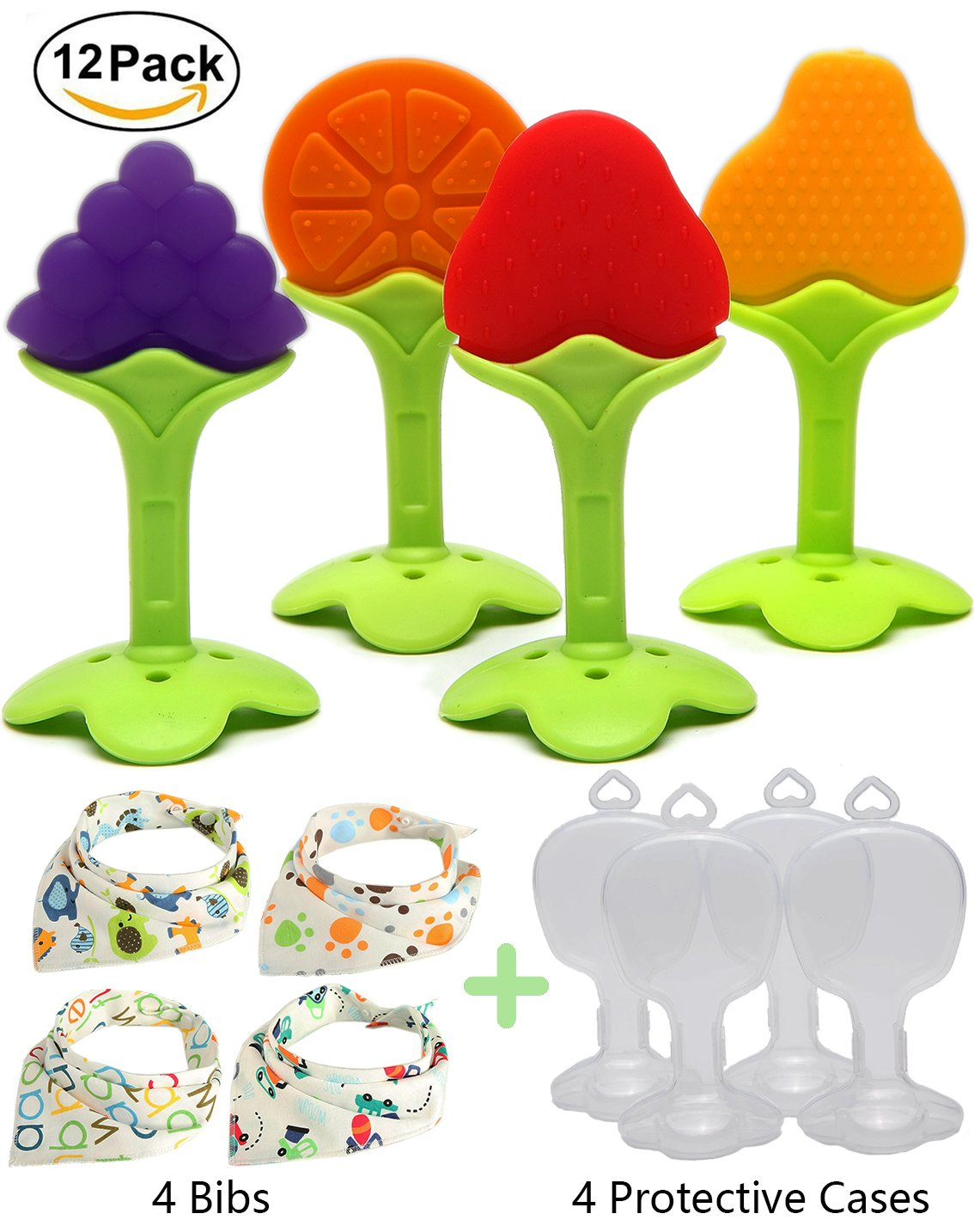 Kidsky Baby Teething Toys, Soft Silicone Natural FDA Approved BPA Free Fruit Teethers Set with Baby Bandana Drool Bibs for Toddlers & Infants. (Pack of 12)