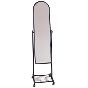Spiegel Standspiegel spiegel standspiegel mit rollen und ablage schwarz amazon de