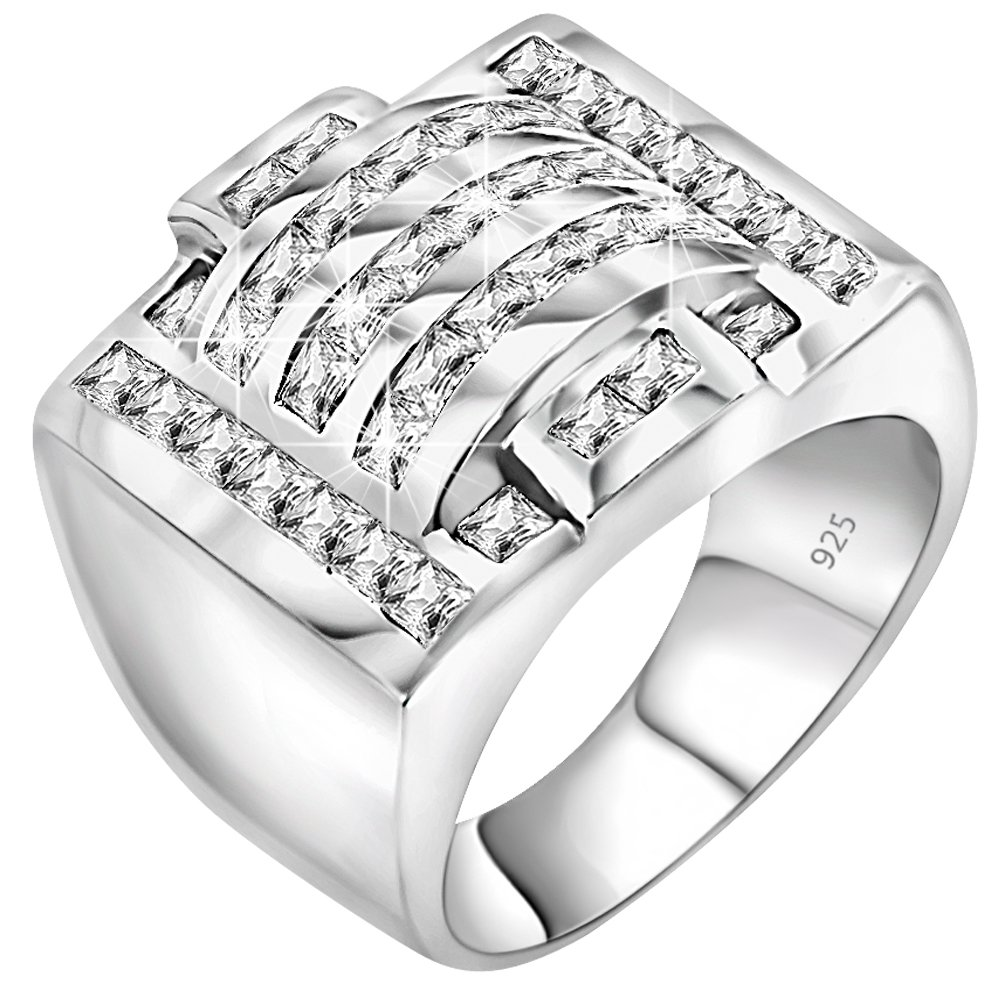 Men's Sterling Silver .925 Ring Featuring 40 Cubic Zirconia (CZ) Channel Set Stones, Platinum Plated Jewelry (9)