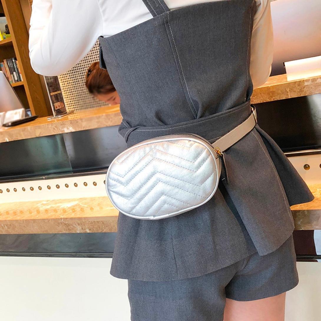Silver Women Waist Bags PU Leather Waterproof Messenger Shoulder Bag Outdoor Chest Pack