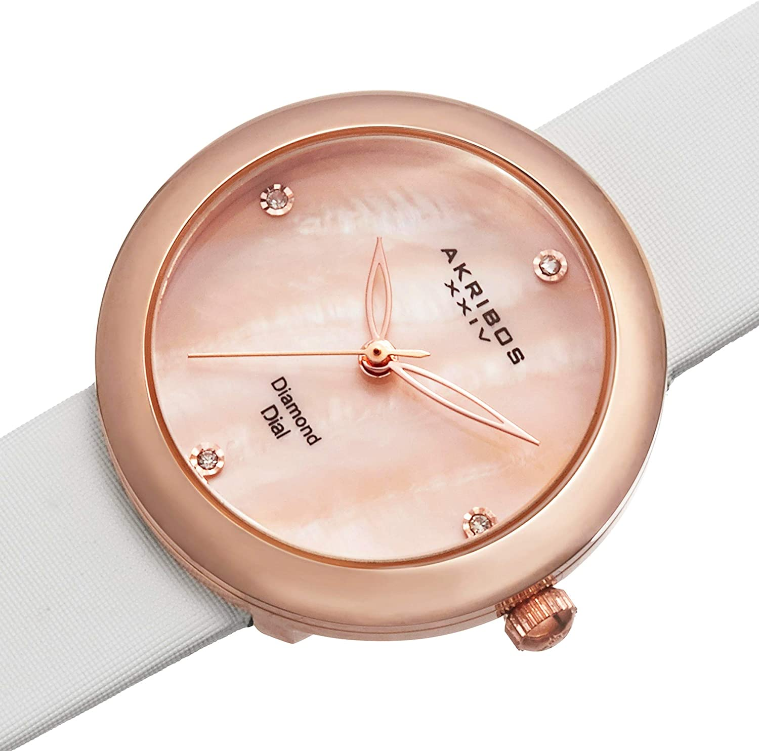 Akribos XXIV Women's MOP Watch - Impeccable Swiss Quartz Movement - 4 Diamond Hour Markers - Mother-of-Pearl Dial on Satin Strap Watch - AK687 Rose Gold/White