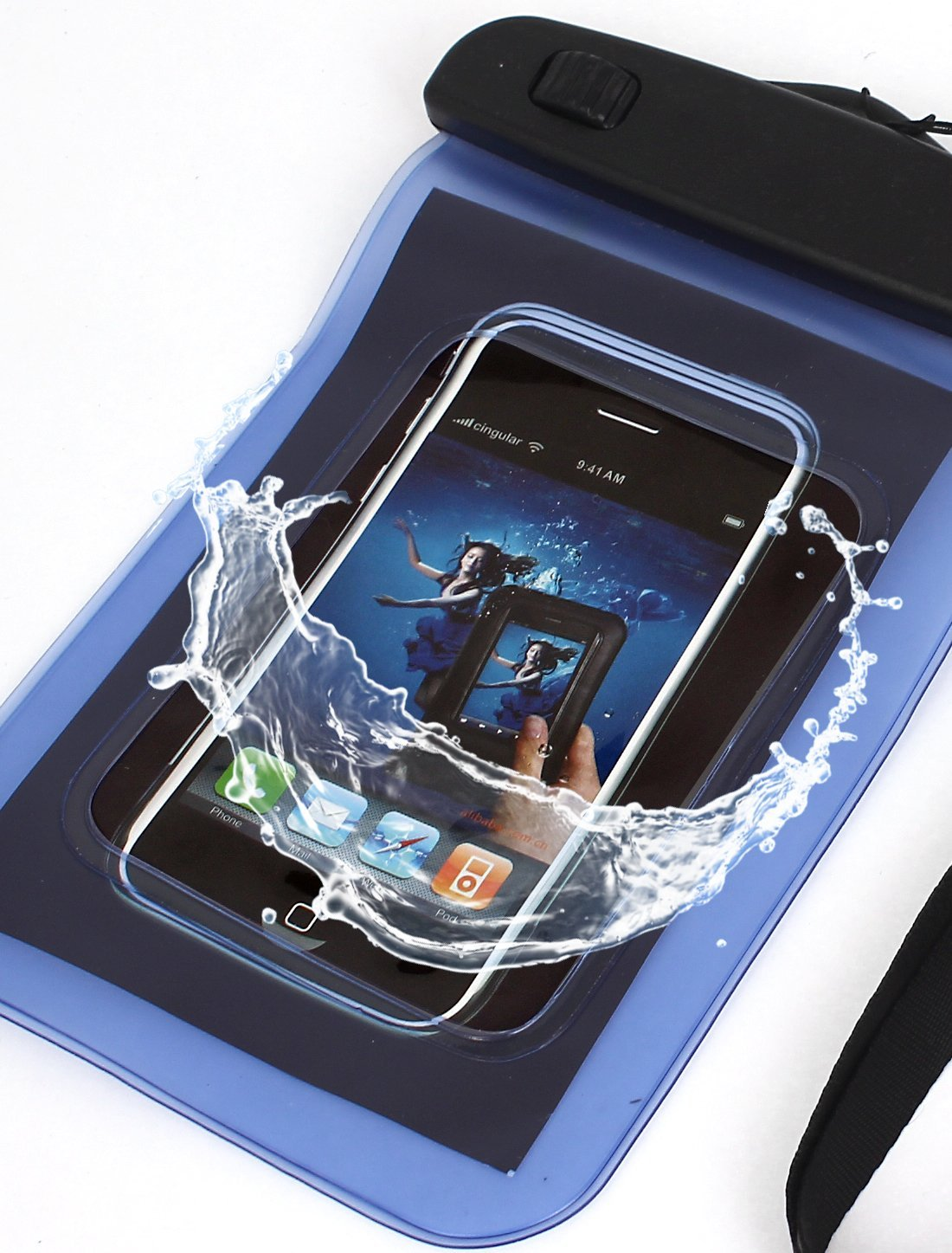 Amazon.com : eDealMax Caso impermeable del teléfono móvil del bolso seco del Protector de la Bolsa Azul + Correa : Sports & Outdoors