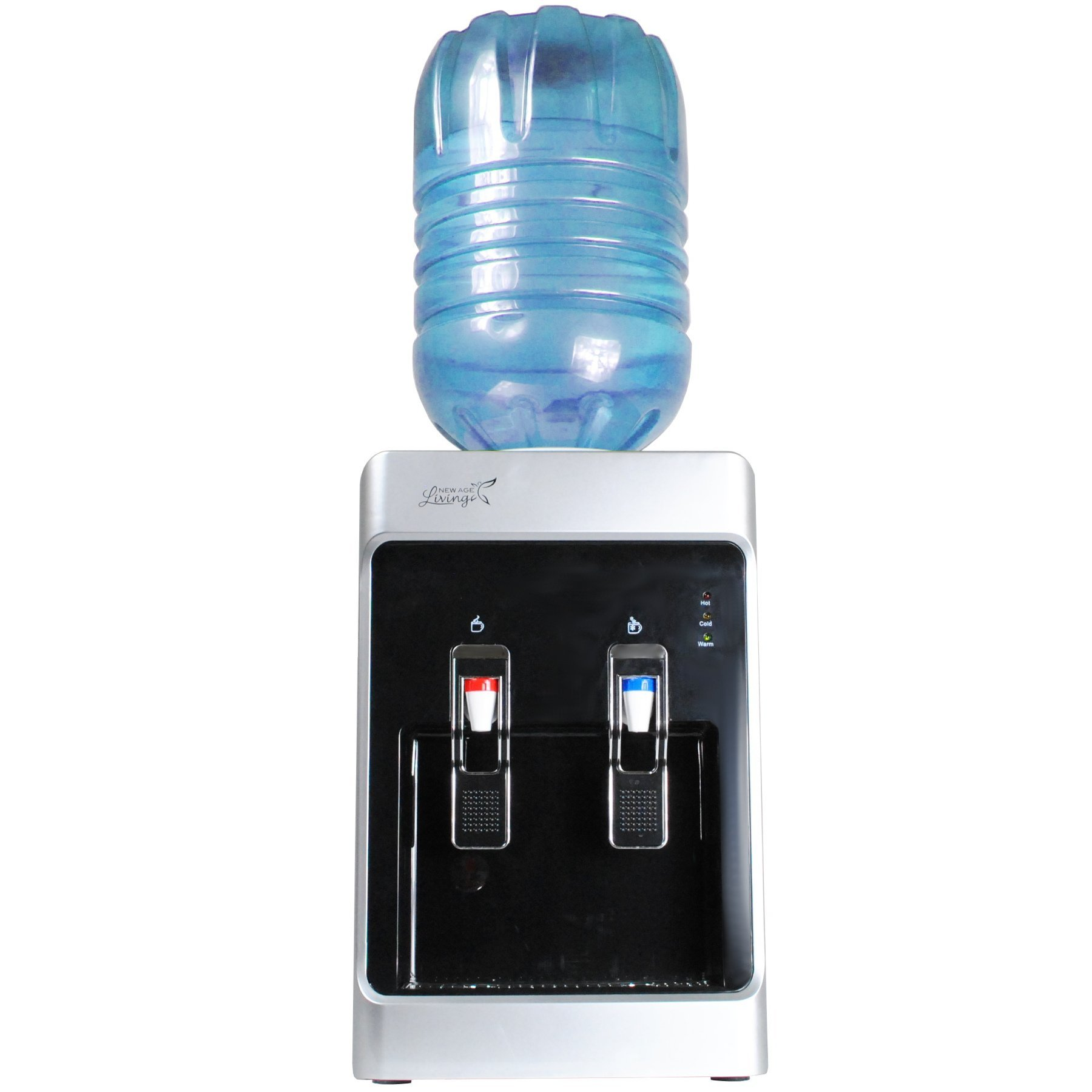 New Age Living 5 Gallon Desktop Cold & Hot Water Dispenser | Fits Standard 3-5 Gallon Water Cooler Bottles | Compact Size For Desk, Countertop, Table | 1 Year Warranty