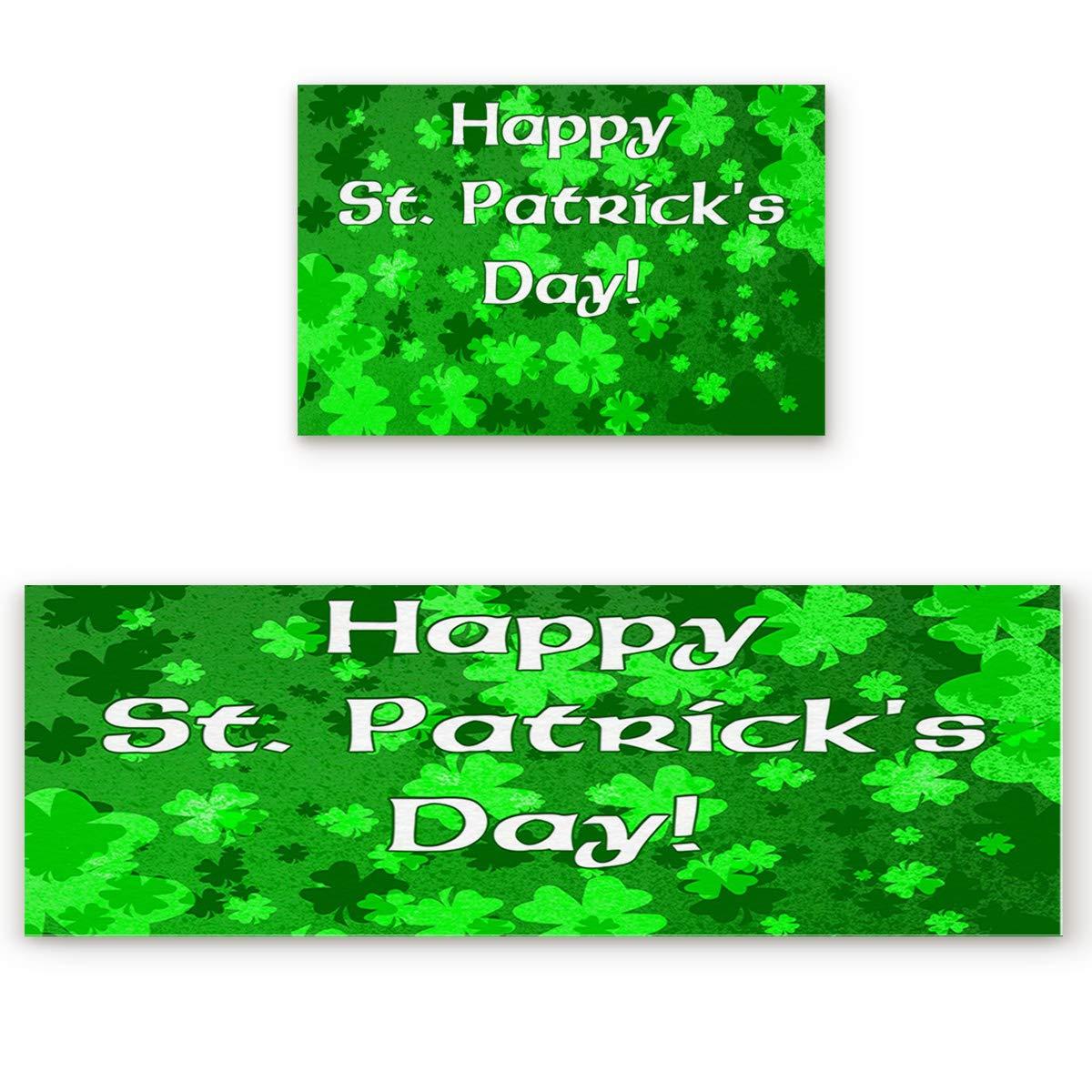 St. Patrick's Day1san0063 19.7 x31.5 +19.7 x63  Savannan 2 Piece Non-Slip Kitchen Bathroom Entrance Mat Absorbent Durable Floor Doormat Runner Rug Set - Starry Sky