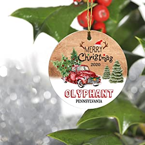 """Merry Christmas Tree Decorations Ornaments 2020 - Ornament Hometown Olyphant Pennsylvania PA State - Keepsake Gift Ideas Ornament 3"""" For Family, Friend And Housewarming"""