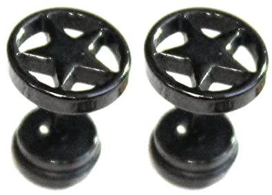 52c238755fa5 Expansores falsos a rosca de acero quirúrgico para hombres y mujeres.  Pendientes de 8 mm color negro y gris