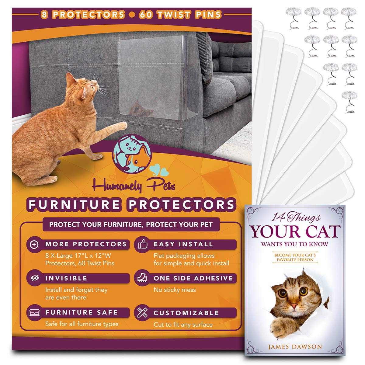 "Humanely Pets Furniture Protectors from Cats - 8(Eight) 12""Lx17""W Transparent Cat Protectors for Furniture-Long Lasting Cat Furniture Protector-Couch Corner Protectors from Cats-Cat Scratch Deterrent"