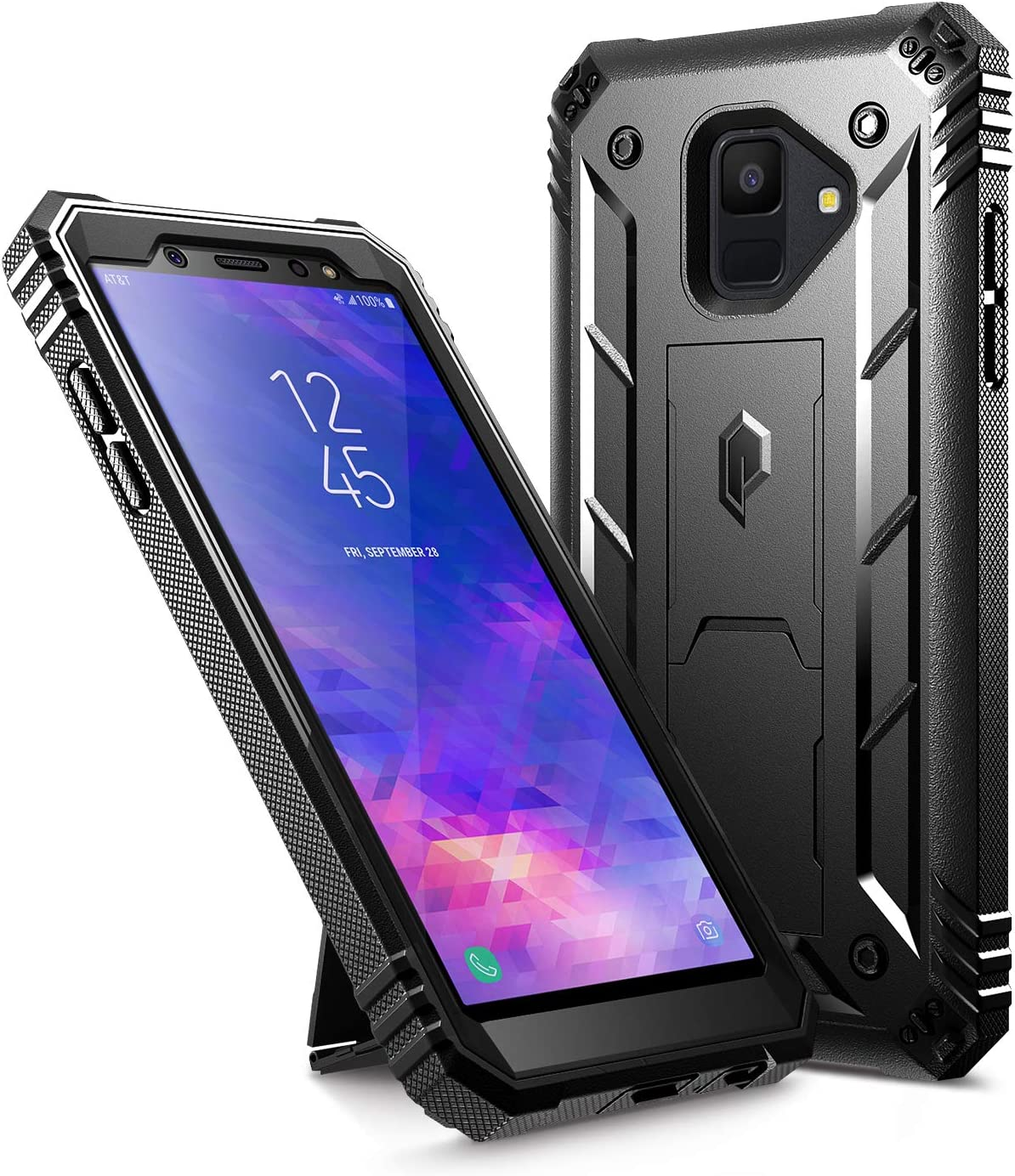 Herbests Compatible with Samsung Galaxy A6 Plus 2018 Case Thin Fit Shockproof Anti-Scratch Rugged Case 360/°Full Body Front Back Hard Case Cover All-Around Protective Cover,Red Black