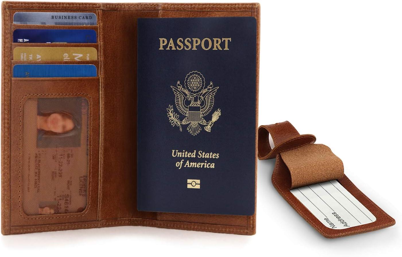 Otto Angelino - Porta Pasaporte de Cuero Real - Bloqueo de RFID - Etiquetas para Equipaje - Unisexo (Marrón Claro): Amazon.es: Equipaje
