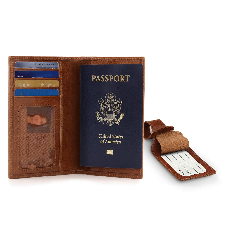 avec Emplacement et /Étiquette /à Bagage Marron Clair Otto Angelino Blocage des Signaux RFID Porte Passeport en Cuir V/éritable Unisexe
