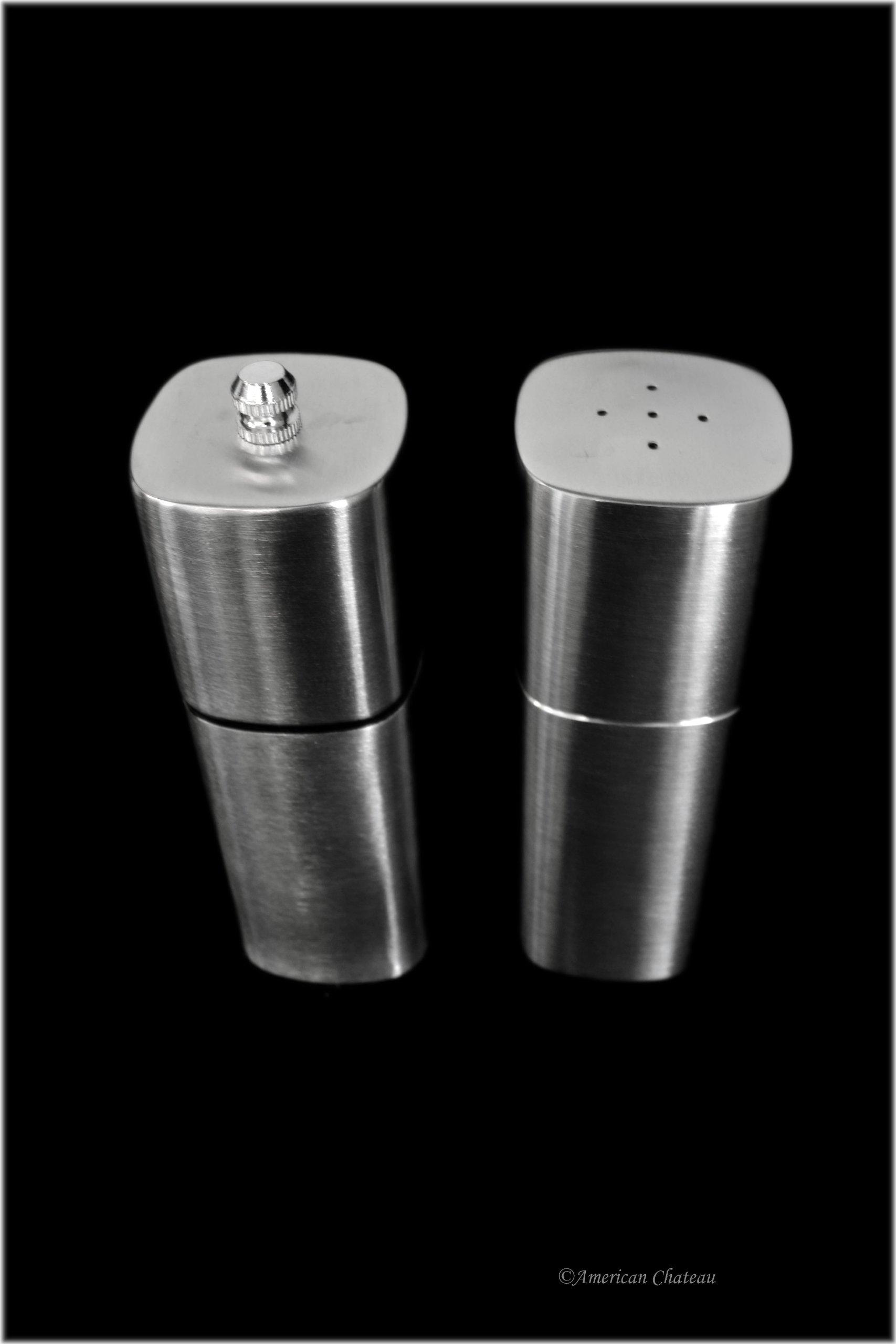Set Square Restaurant-Style Stainless Steel Salt Shaker and Pepper Mill Grinder