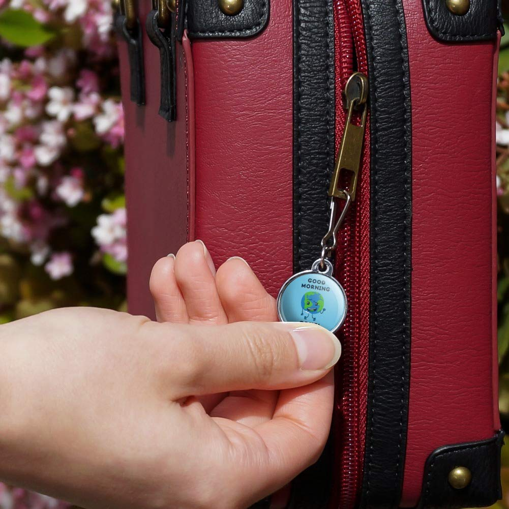 Good Morning Cruel World Funny Humor Jacket Handbag Purse Luggage Backpack Zipper Pull Charm