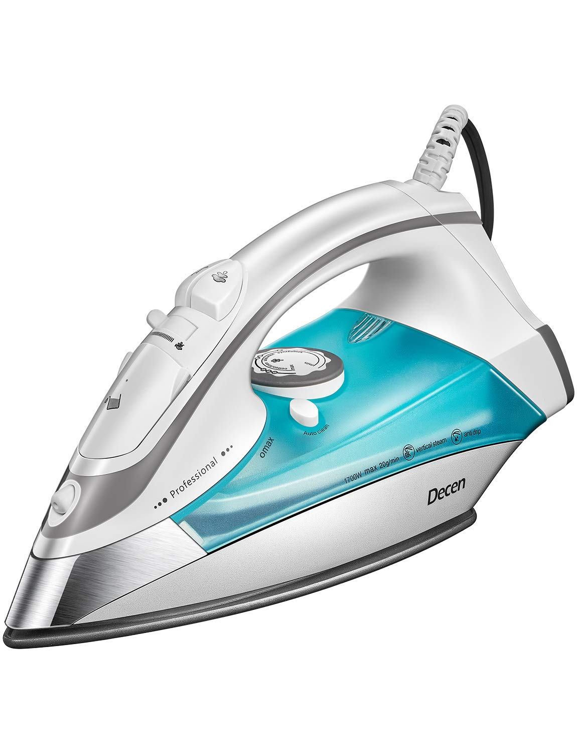 DECEN Steam Iron, 1700W Iron with Large Anti-Drip Nonstick Soleplate, Steamer Iron with Steam Control and Auto-Off, Teal