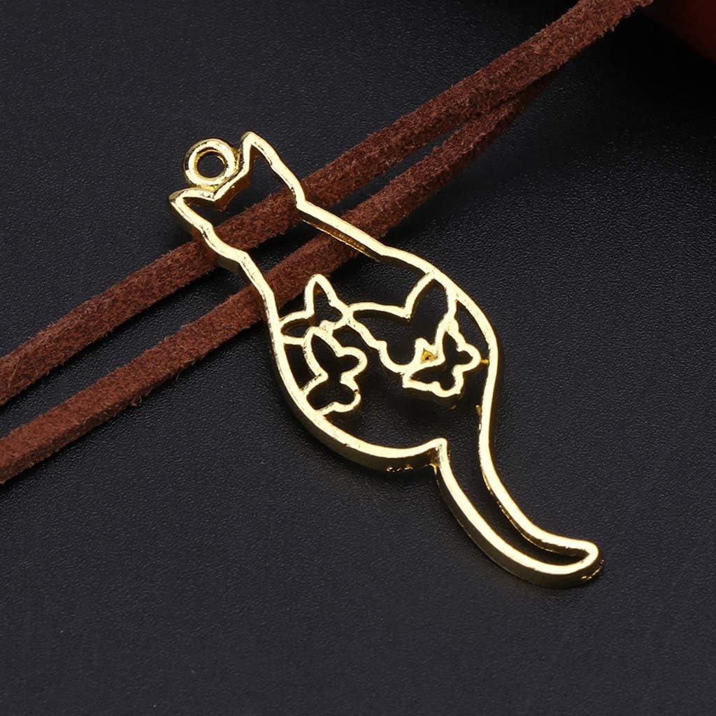 6 Pcs//Set Metal Frame DIY Jewelry Necklace Pendant Kitten Cat Hollow Frames