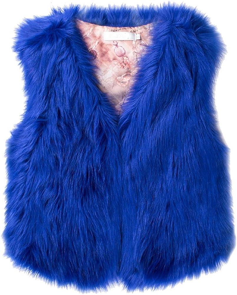 GESELLIE Womens Cute Winter Faux Fur Waistcoat Short Vest Sleeveless Warm Coat Runs Small