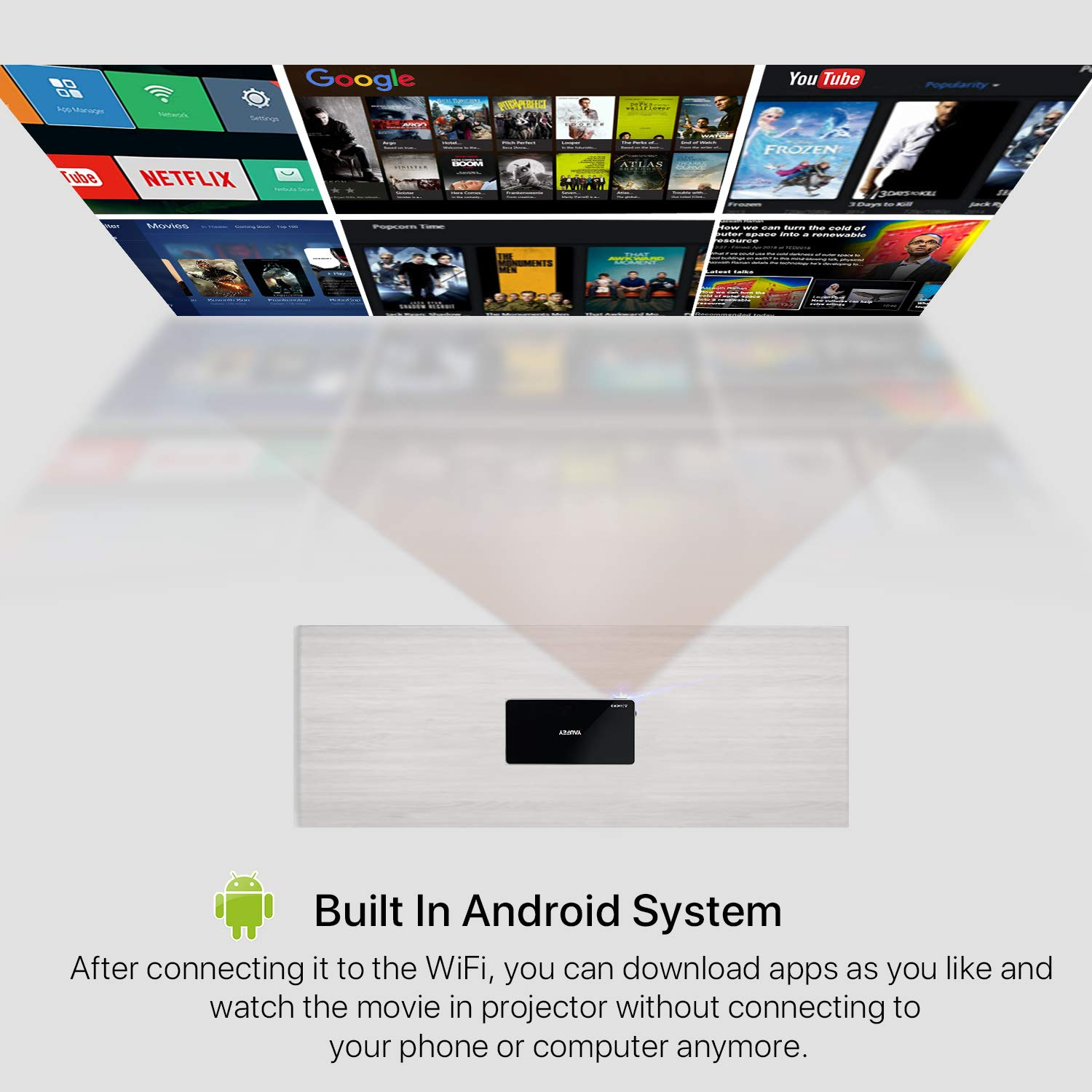 Yaufey Mini Projector, Portable Wireless DLP Projector for Home Video  Cinema With Carrying Bag and Tripod, Built-in Battery Support Android  System,