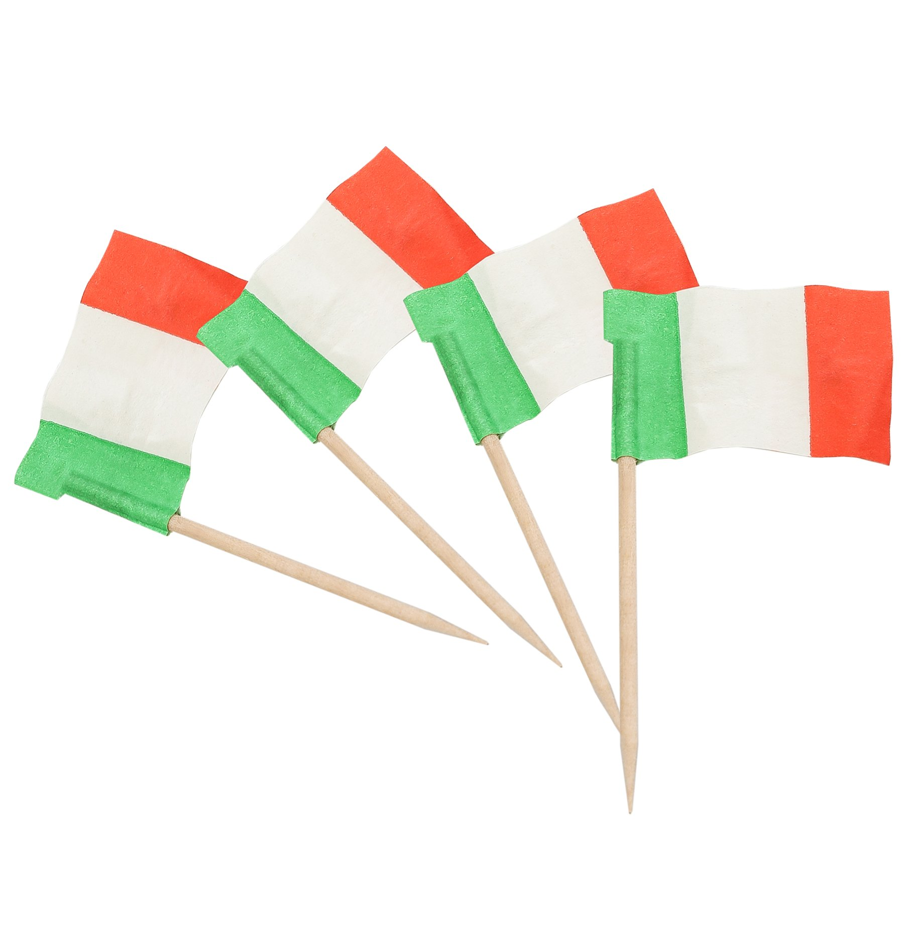 KingSeal 2.5 Inch Wooden Picks - 100 Pack/144 per Pack, Italian Flag