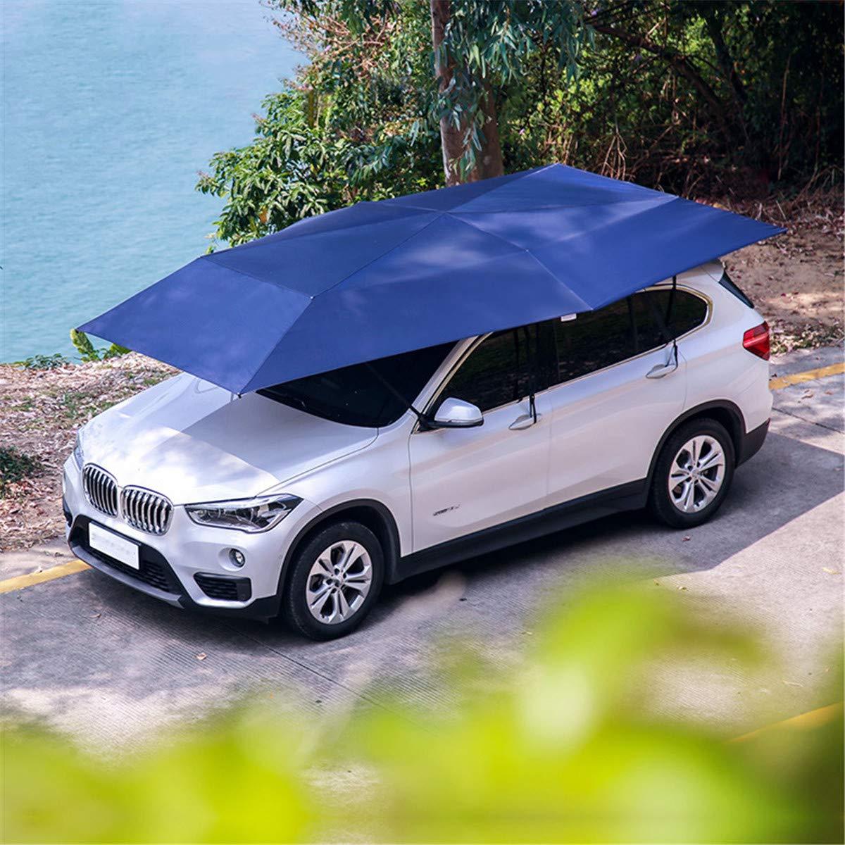 CFJJOAT 車のカバー自動カバー、スマートモバイルガレージ屋根カバー車UV保護とレイントラック折りたたみ4.5 * 2.3 m 青