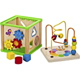 Bead Maze Activity Center For Kids - 5 In 1 Activity Cube Wooden Toy Abacus Learning Toys
