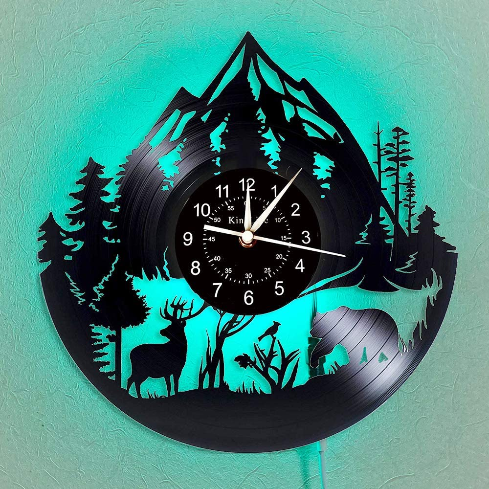 Homie Bay Wild Forest Animal Vinyl Record Wall Clock - Animal LED Light Wall Clock - Vintage Vinyl Clock - Living Room Wall Decor - Gift for Nature Lovers.