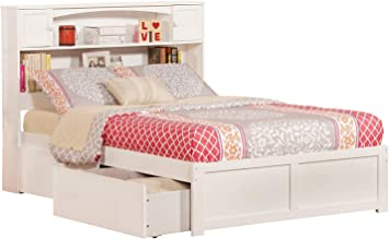 Amazon Com Atlantic Furniture Newport Platform 2 Urban Bed Drawers Full White Furniture Decor