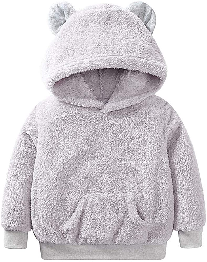 Zerototens Kids Sweatshirt,1-7 Years Old Toddler Baby Boys Girls Long Sleeve Solid Fleece Sweatshirt Hooded Coat Autumn Winter Thick Warm Fluffy Child Outwear Casual Outfit Gray