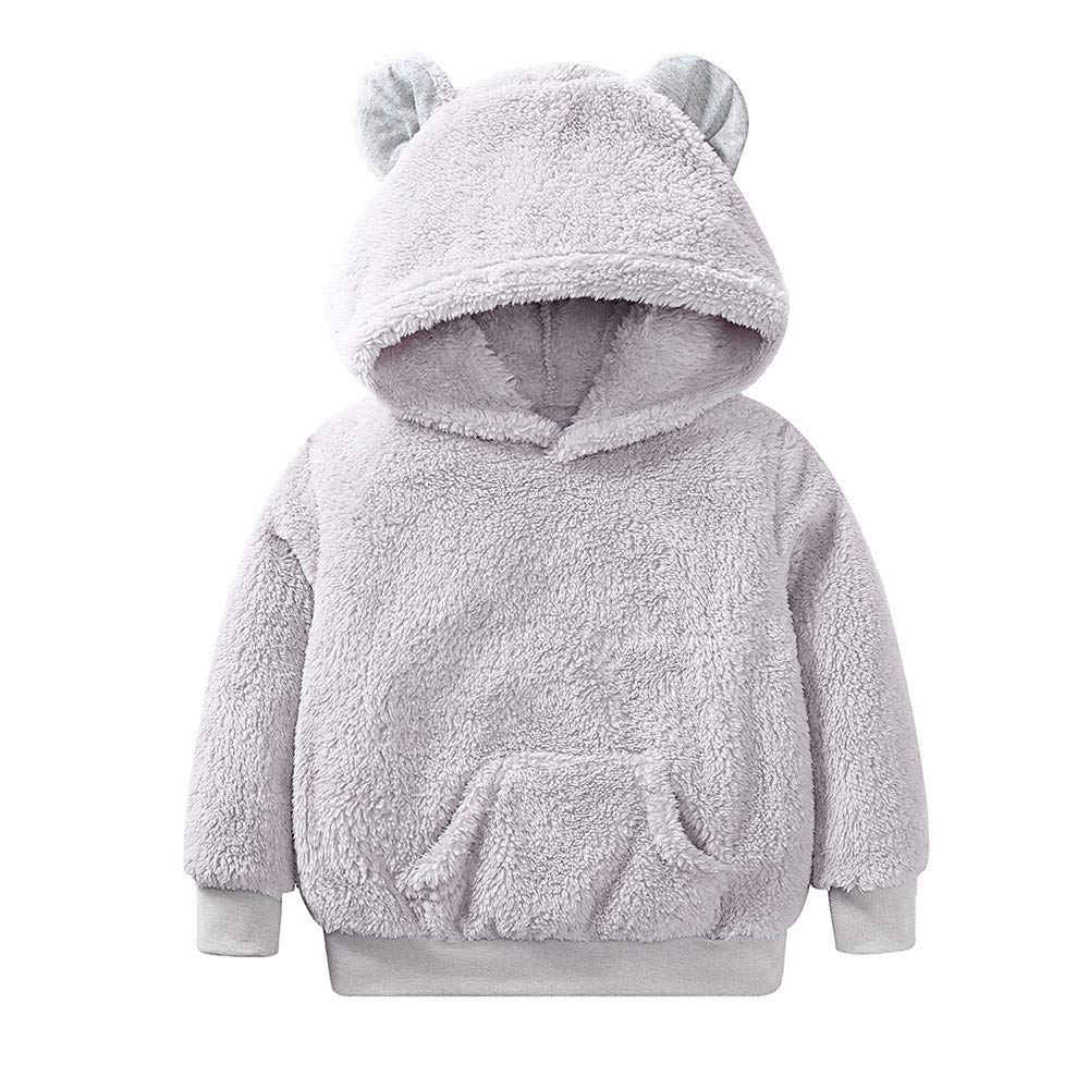 Longra® Clearance Kids Baby Jacket, Toddler Baby GirlsBoys Long Sleeve Solid Hoodie Tops Fluffy Outfits Clothes Longra®