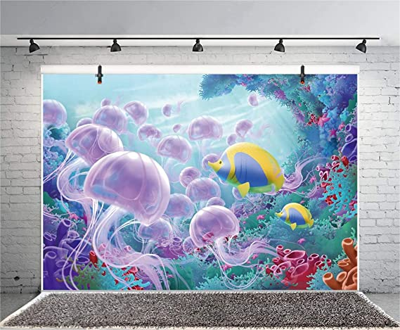7x10 FT Henna Vinyl Photography Backdrop,Abstract Floral Jellyfish Sea Animal Merged with Flora Black White Inspired Background for Baby Shower Bridal Wedding Studio Photography Pictures