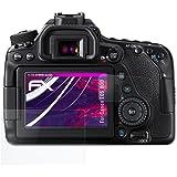 Canon EOS 80D Glasfolie - 1er Set atFoliX FX-Hybrid-Glass hartbeschichtete elastische 9H Kunststoffglas Folie - besser als Echtglas Panzerglas