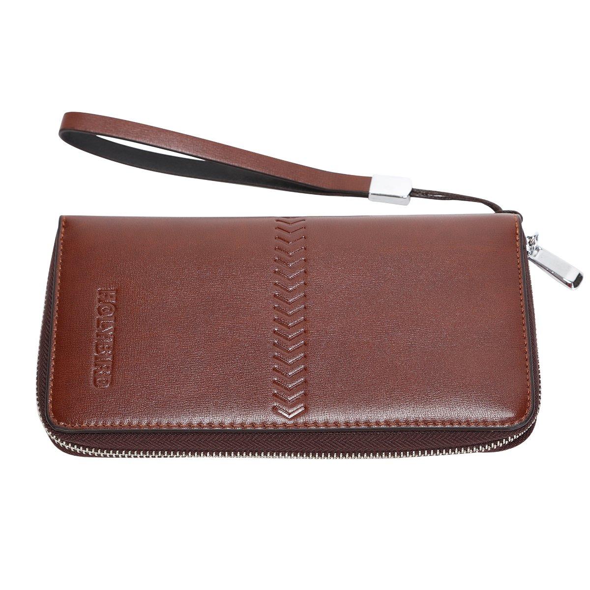 Mens Clutch Genuine Leather Handbag Organizer Checkbook Wallet Card Case by HOLYBIRD (Image #2)