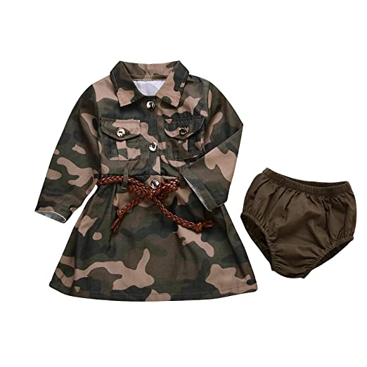 10adc5e2fd3da IWOKA Baby Girl Camouflage Long Sleeve Bandage Skirts+Green Short Pants  Outfit Casual Clothes