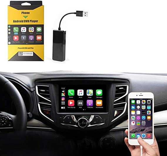 Carlinkit USB Wired Carplay Dongle Android Auto,with Android System Version 4.4.2 and Above,Support Google and waze map and Mirror Screen.