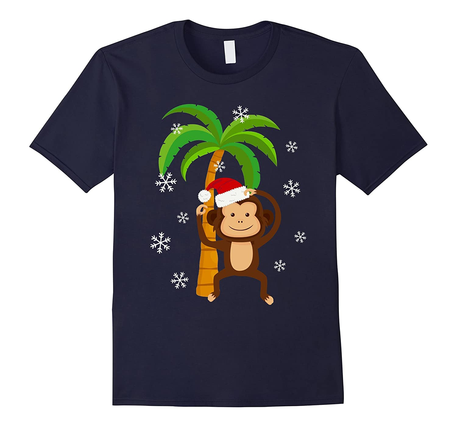 Cute Monkey Santa Hat Christmas Holiday T-Shirt Monkey Lover-ANZ