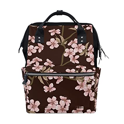 Amazon.com : ALIREA Cherry Blossom Flowers Pattern Diaper Bag Backpack, Large Capacity Muti-Function Travel Backpack : Baby