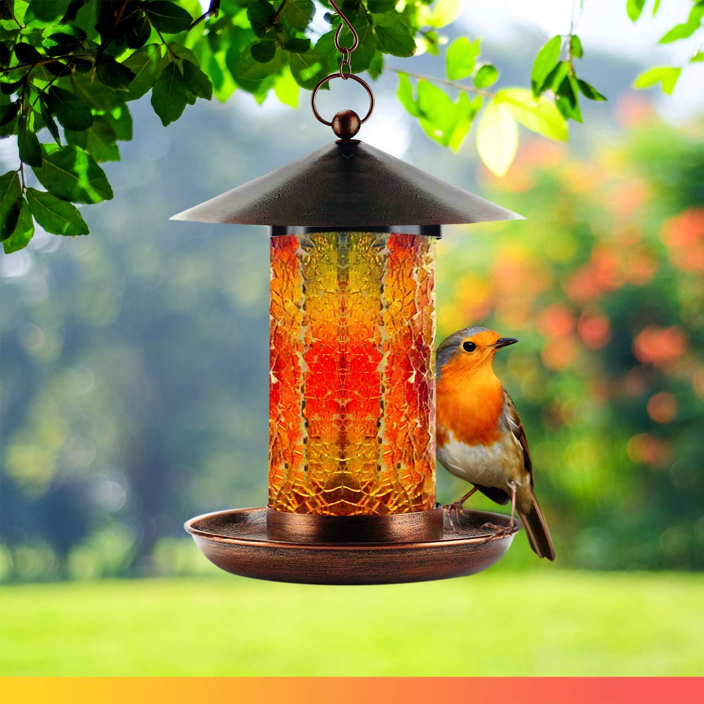WDS Solar Powered Hanging Bird Feeder for Outside | Handcrafted Mosaic Glass Tube | Dazzling Bronze Bird Feeders for Outdoors | Waterproof Garden Birdfeeder - Unique Gift Idea