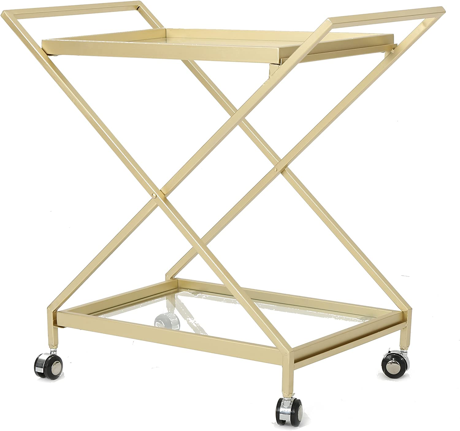 Christopher Knight Home Easter Indoor Industrial Iron and Glass Bar Cart, Gold,