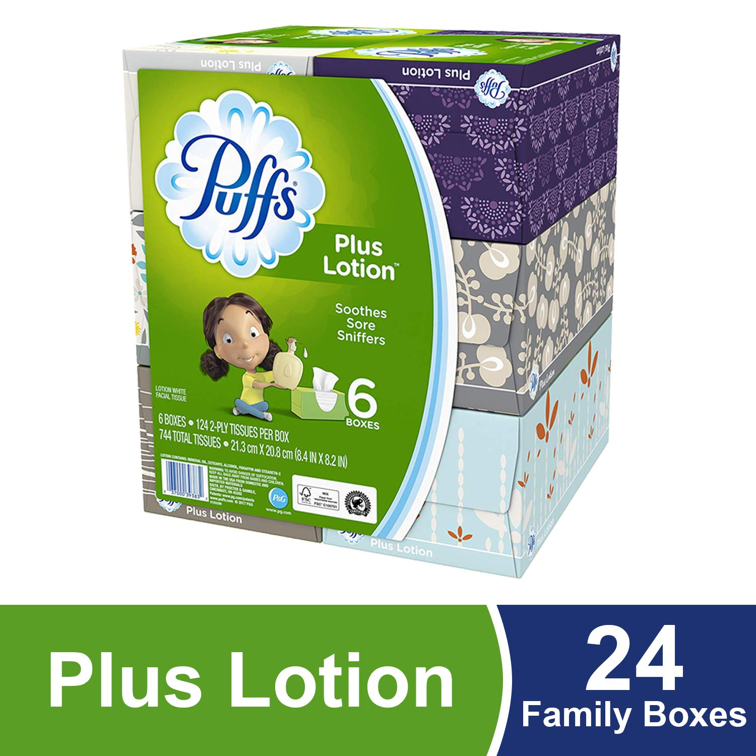 Puffs Plus Lotion Facial Tissues, 24 Family Boxes, 124 Tissues per Box product image