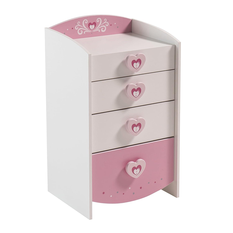Anastasia 4-Drawer Chest, MDF, Pink, 53 x 43.9 x 91.2 cm Meubles Demeyère 228912