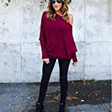 'Dolland Women's Off Shoulder Bat Long Sleeve Pullover Knitted Sweater Jumper,Red Wine L' from the web at 'https://images-na.ssl-images-amazon.com/images/I/71zlpbLqOqL._AC_UL160_SR160,160_.jpg'