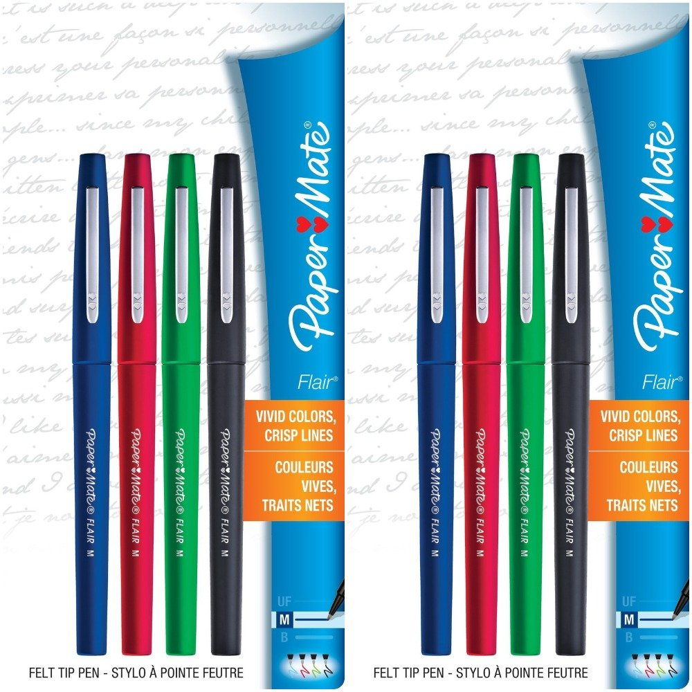 Paper Mate Flair Felt Tip Pens, Medium Point (0.7mm), Business Colors, 8 Count by Paper Mate (Image #1)