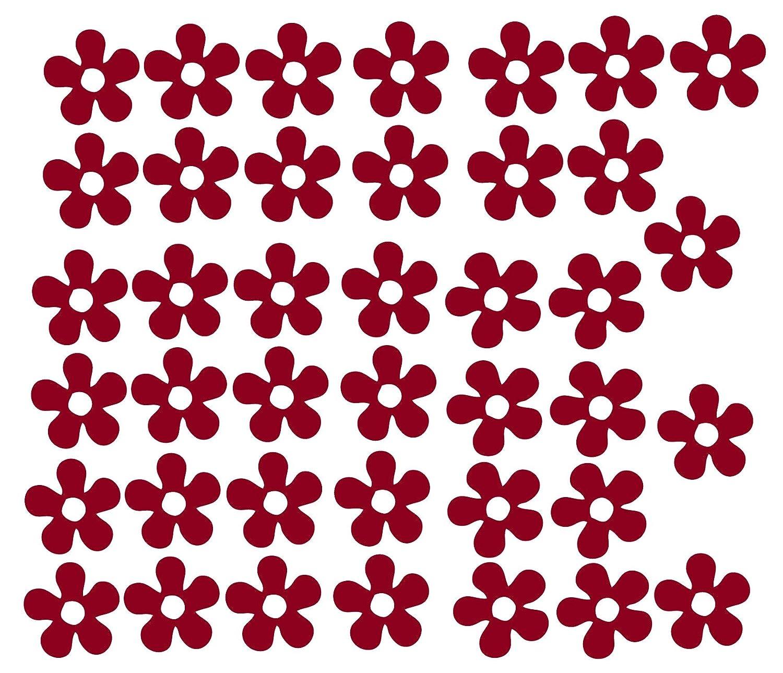 Pack of 40 Vinyl Flowers Stickers Car Bike Sccoter Helmet Decal Graphic Girls Laptop Decorative