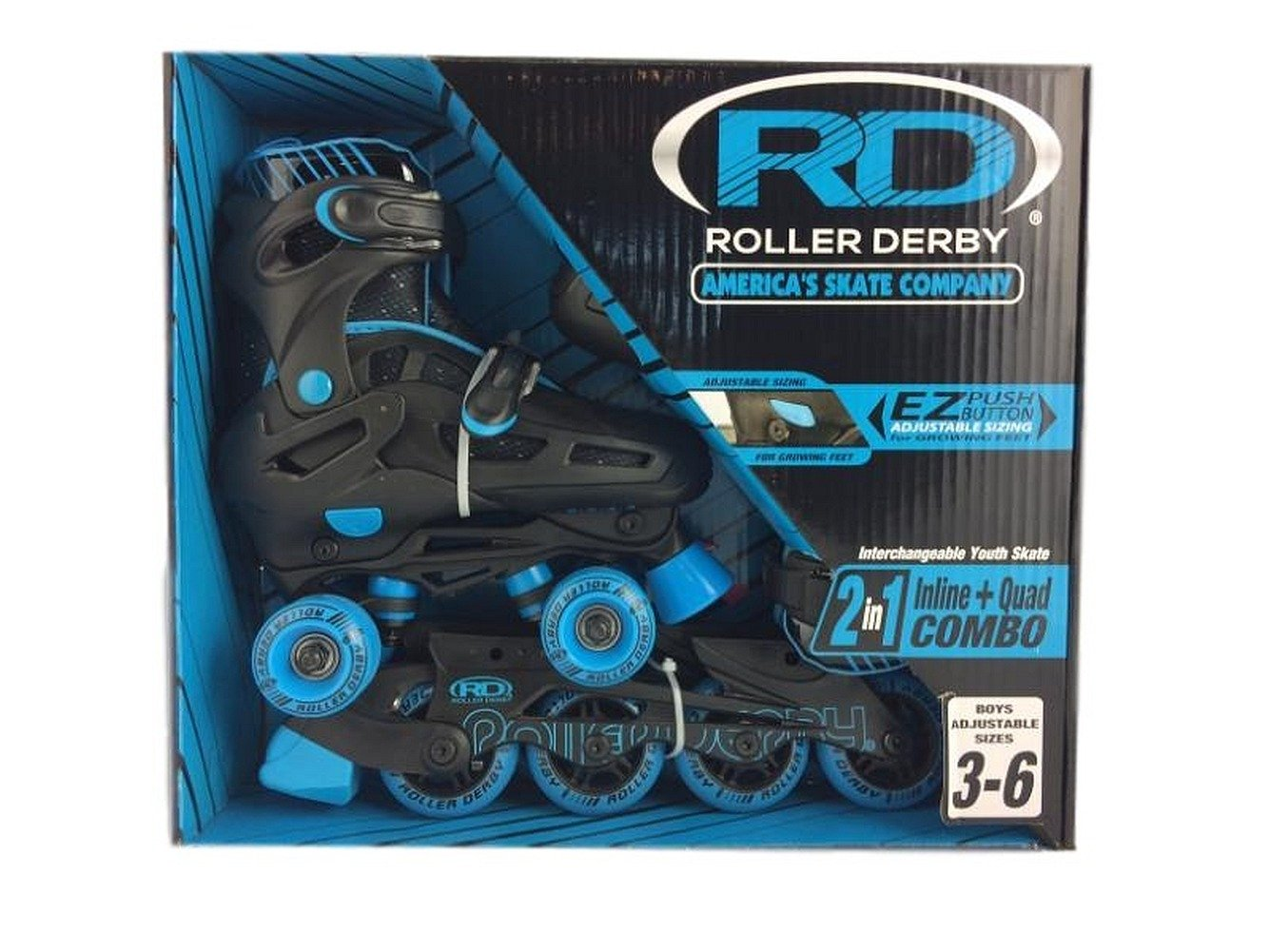 Roller Derby 2n1 Inline and Quad Skate Boys Adjustable Size 3-6